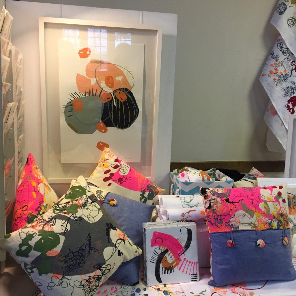 Cushions, prints and tea towels